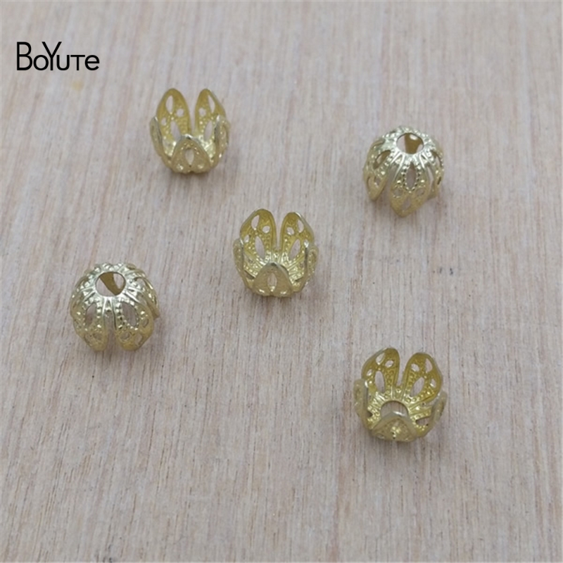 BoYuTe 200Pcs 3 Colors 7MM Metal Brass Filigree Stamping Flower Bud Charms Diy Jewelry Findings Components