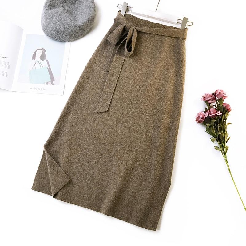 344 water velvet knit skirt women 2018 autumn and winter new women's long section high waist bag hip split A skirts 7