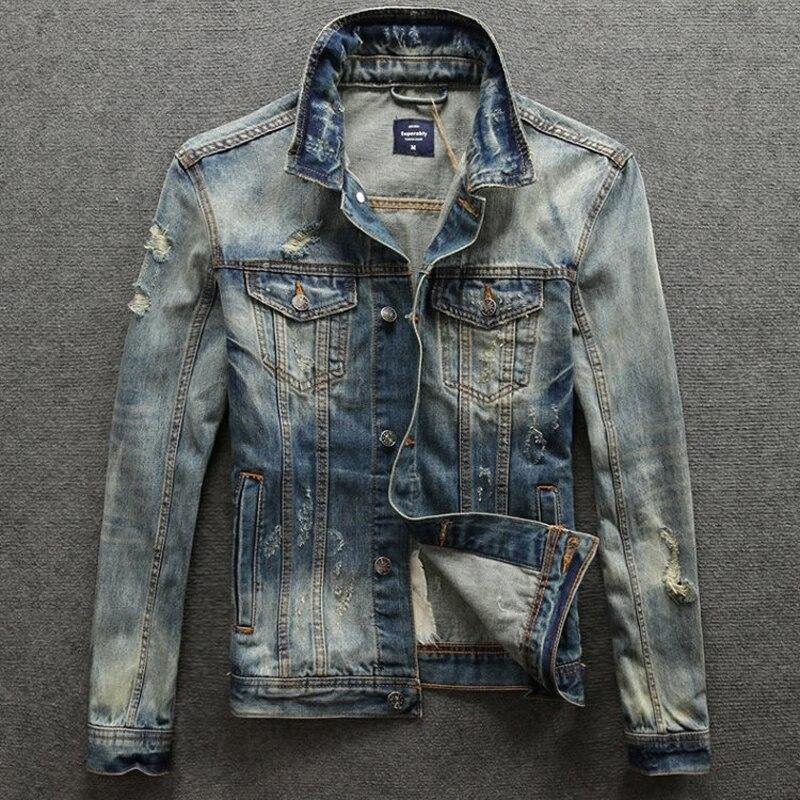 2019 아메리칸 스트리트 패션 남성 자켓 고품질 닳은 립 자켓 남성 데님 코트 향수 레트로 디자인 바이커 자켓-에서재킷부터 남성 의류 의  그룹 1