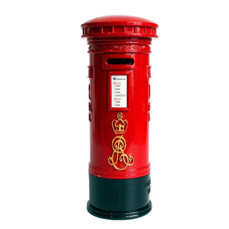 Red England Mailbox Money Box Piggy Bank Coin Bank Money Saving Box Resin Craft Kids Toy Christmas Gift Home Office Desk Decor