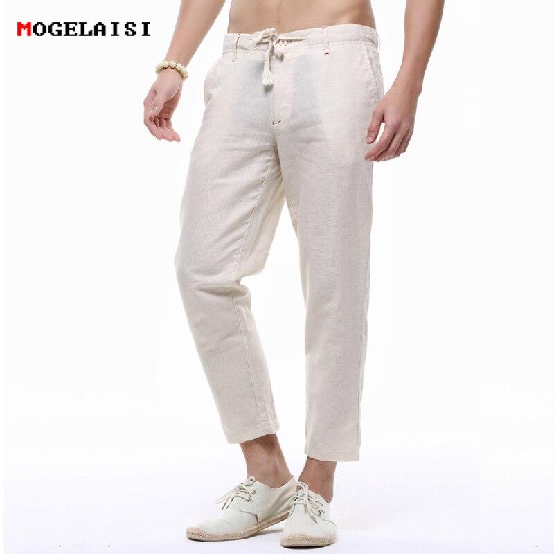 Linen Pants Men Ankle-length Pants Summer Thin Casual Solid Linen Men Loose Pants Linen Harlan Trousers 4 Color Size S-3XL