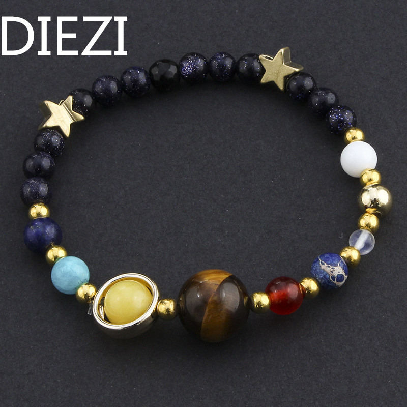 DIEZI Handmade Universe Galaxy The Eight Planets In The Solar System Guardian Stars Stones Beads Women Wrap Bracelets Bangles