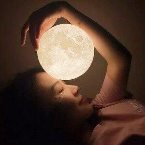 Image 3 - 3D ירח מנורת מגע חיישן/שלט רחוק חידוש LED לילה אור Luminaria Lua 3D ירח אור עבור תינוק ילדים שינה בית תפאורה