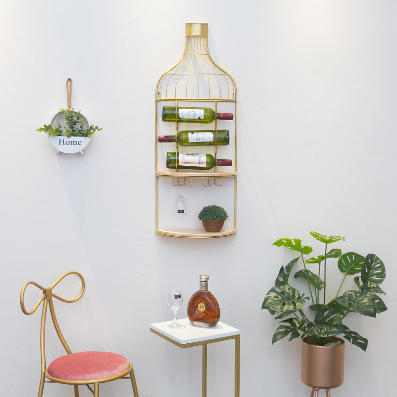 Creative Iron Hanging Wine Rack  Decoration Wine Cabinet Hanging Type  Tall Frame  Wine Rack