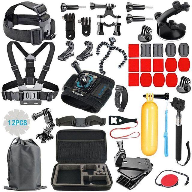 GoPro اكسسوارات عدة ل الذهاب برو Hero7 6 5 شريط للصدر رئيس حمل العائمة قبضة اليد المسمار 53 في 1 مجموعة ل عمل الكاميرا