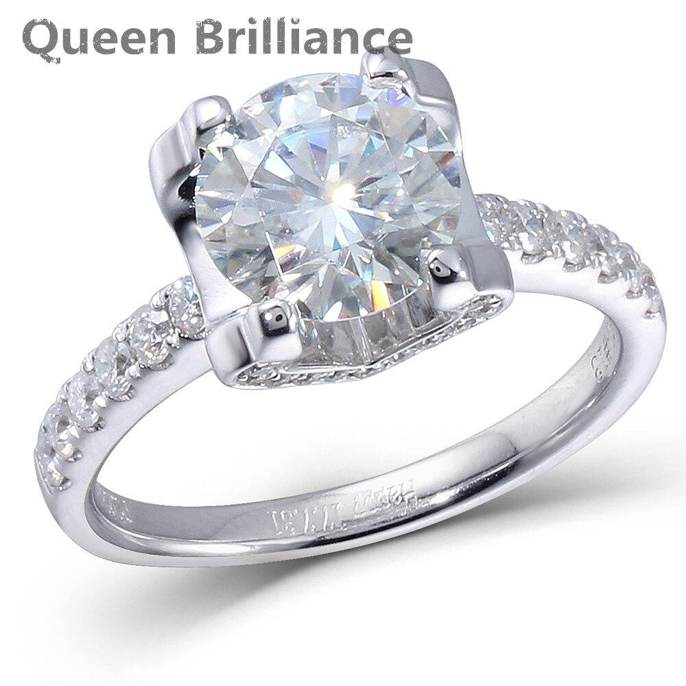 Genuine 14K 585 White Gold 2ct Center 8mm F color Round Brilliant Lab Grown Moissanite Diamond Engagement Wedding Ring for Women