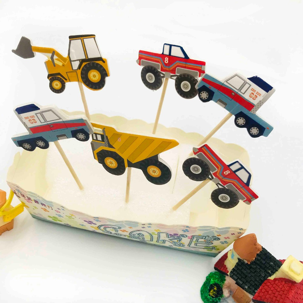 24pcsbag Car Truck Excavator Happy Birthday Cake Topper For Kids