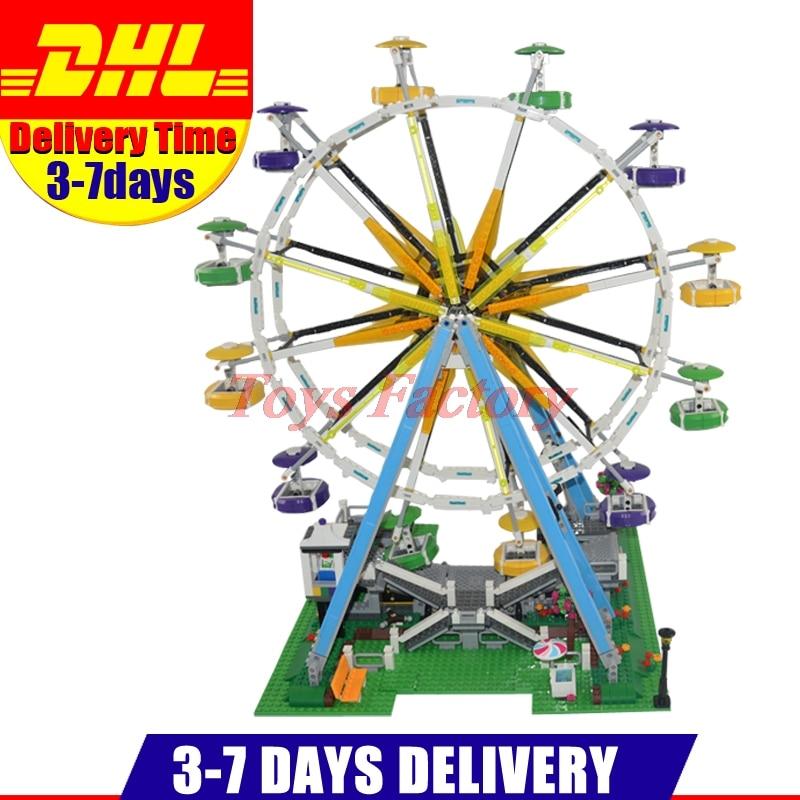 DHL Lepin 15012 City Street Ferris Wheel Model Building Kits Set Assembling Blocks Toy Compatible 10247 Birthday Toys a toy a dream lepin 15008 2462pcs city street creator green grocer model building kits blocks bricks compatible 10185