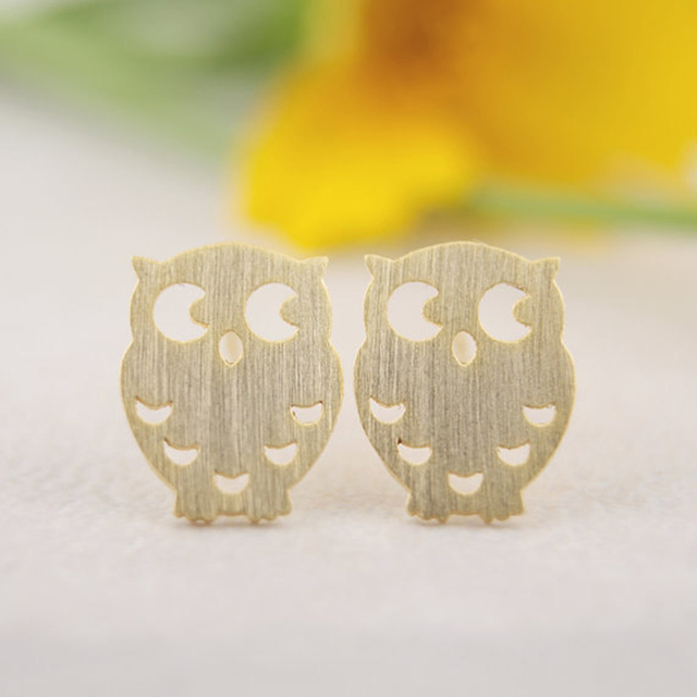 Gold/Silver Plated Night Owl Stud Earrings
