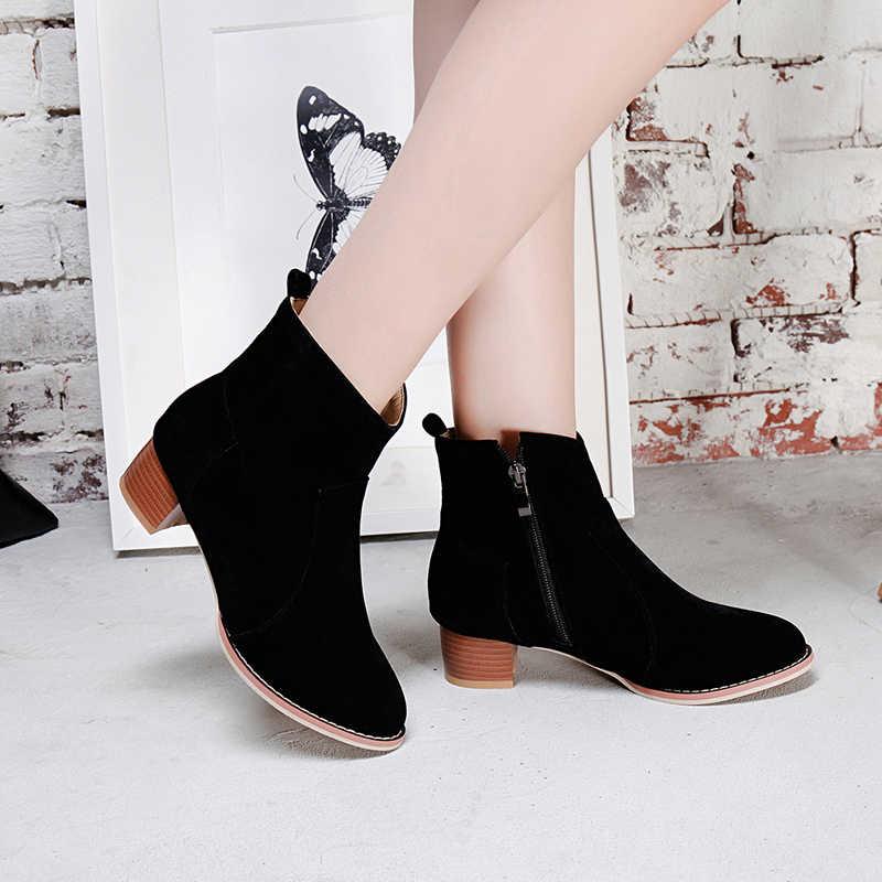 WETKISS Kış Ahşap Kalın Med Topuklu Kadın Çizme Yuvarlak Ayak Akın Ayakkabı Ayak Bileği Kadın Çizmeler Düz Ayakkabı Kadınlar 2018 Yeni siyah
