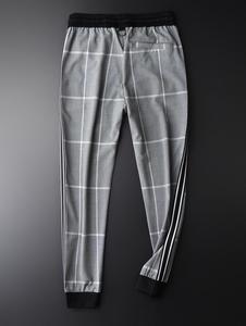 Image 2 - Minglu Pantalones a cuadros para hombre, pantalón a cuadros, de lujo, con cintura elástica, ajustado, hasta el tobillo, de talla grande, 4xl, de hilo teñido, informales