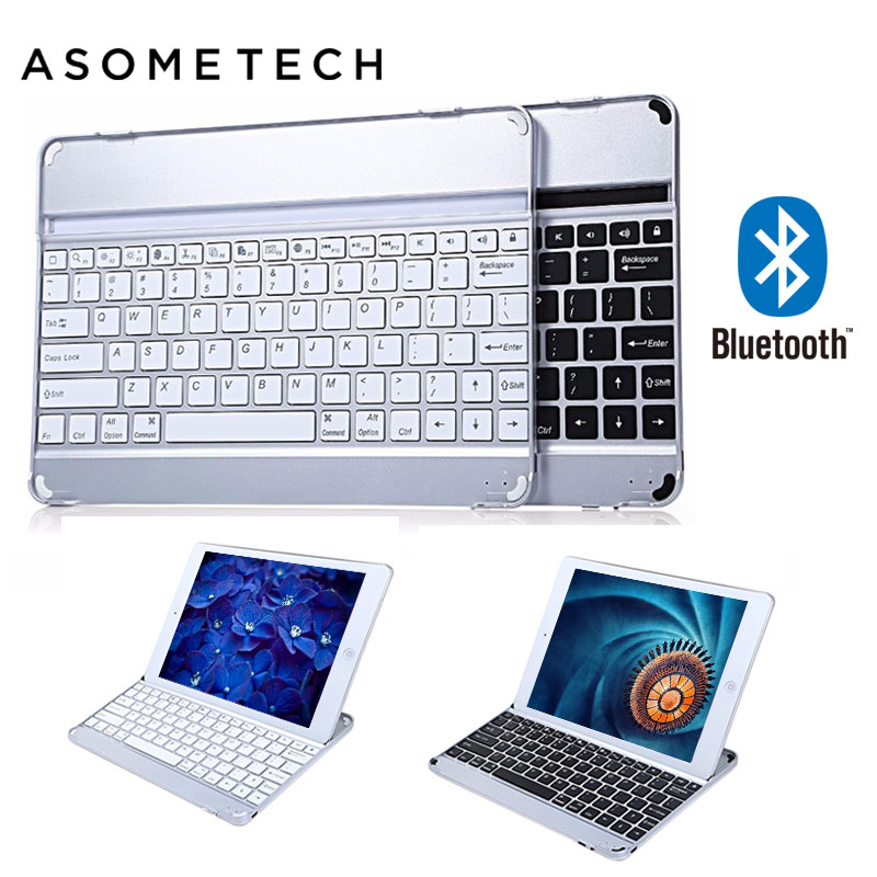 Ultra-slim Wireless Keyboard Bluetooth 3.0 for Apple iPad 6 Air 2 Aluminum Alloy Stand keyboard case cover for ipad AIR 2 A1566
