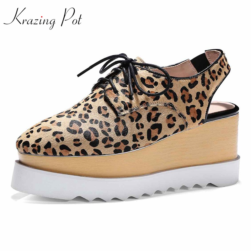 Krazing Topf rosshaar natürliche haut marke schuhe high heels Sommer leopard muster adrette British school plateauschuhe L65-in Damenpumps aus Schuhe bei  Gruppe 1