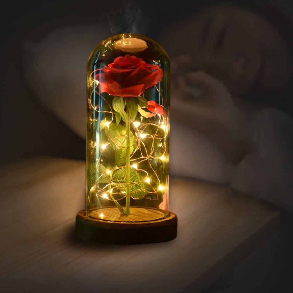 WR D'anniversaire Cadeau Beauté et la Bête Rouge Rose w/Pétales Tombés dans un Verre Dôme sur un Socle En Bois pour Noël Cadeaux de Valentine