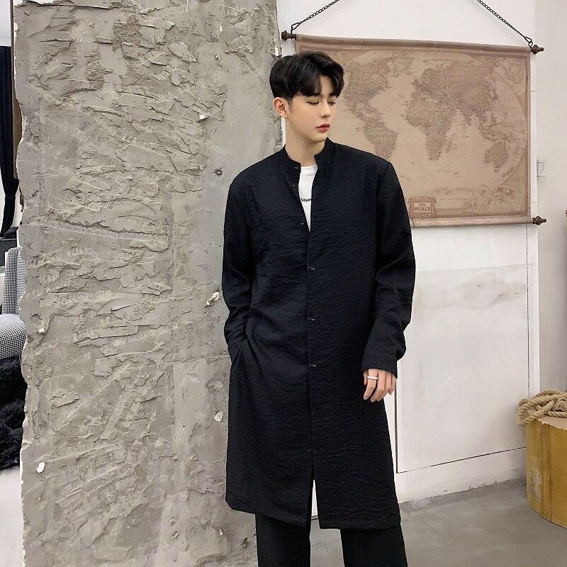Noir blanc Long Col Hommes Montant Style Manches Chemises Lin Décontracté À Blanches Mâle Longues En Chemise Noir Streetwear Nouveau Cardigan HqxqwO5Z