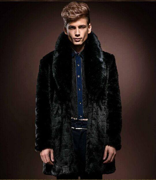 2016 Winter vetement Mens Faux Fur Coat Jackets Long Style