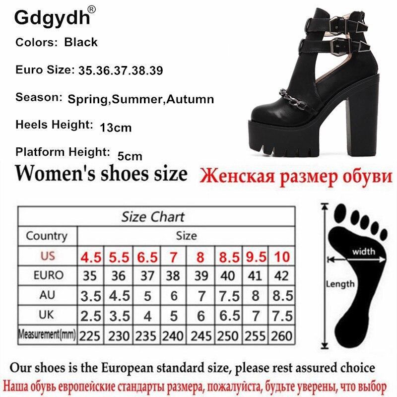 Gdgydh Printemps Automne Mode bottines Pour hauts talons femmes décontracté découpes Boucle Bout Rond Chaîne Épais Talons chaussures à semelles compensées - 6