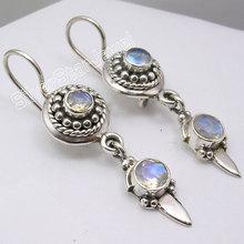 Silver RAINBOW MOONSTONE Lovely Dangle Earrings 4CM