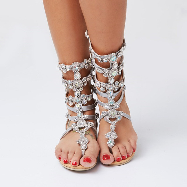 2017 fashion summer women shoes sandals with rhinestones sandalia feminina women shoes plus size 47