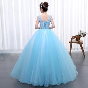 Image 2 - Princess Blue New Wedding Dress 2020 Doubl Shoulders for Party Chorus host Fleabane Bitter Stage Studio Photo