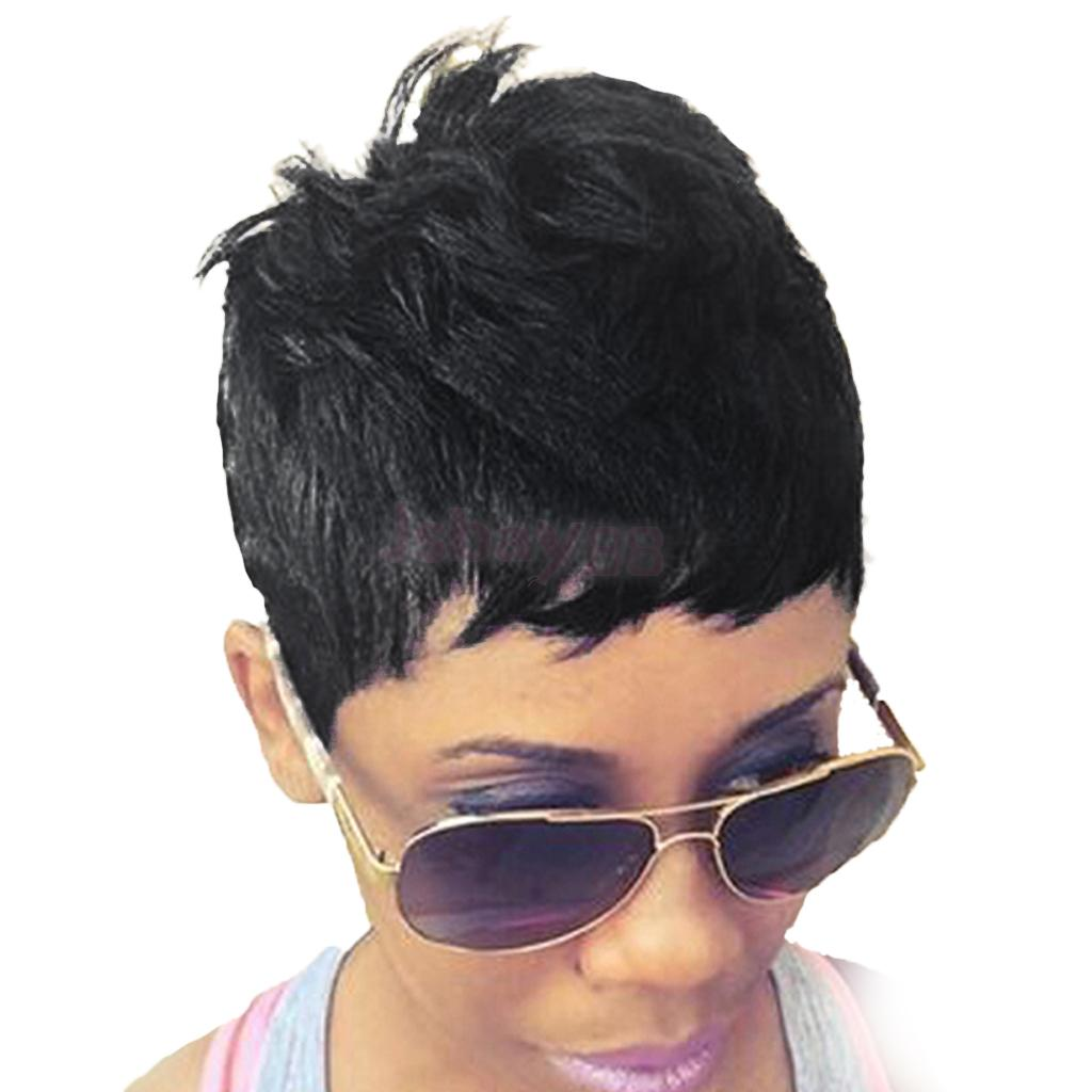 Women Natural Short Curly Wig Human Hair Black Pixie Cut Wig with Flat Bangs