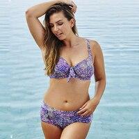 Plus Size Bikini Push Up Floral Printed Purple Color Swimsuit Women Sexy Large Swimwear Female Padded