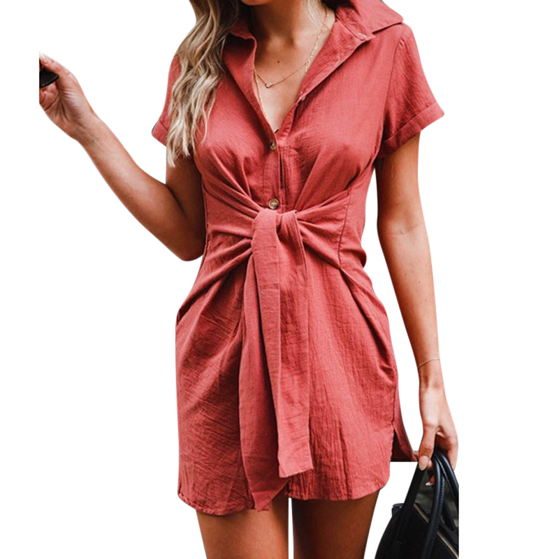 New Women Short Sleeve Bandage Long Shirt Turn-down Collar Casual Tunic Tops Summer Women Clothing Long Blouse Shirt Streetwear