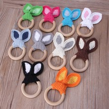Baby Girl Boy Teething Ring Chewable Teether Wooden Natural Bunny Rattle Toy(China)