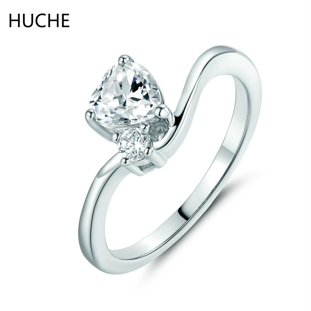 HUCHE Fashion Design Love Heart Rings for Women Bridal CZ Zirconia Crystal Silver Color Finger Rings Female Wedding Jewelry R016