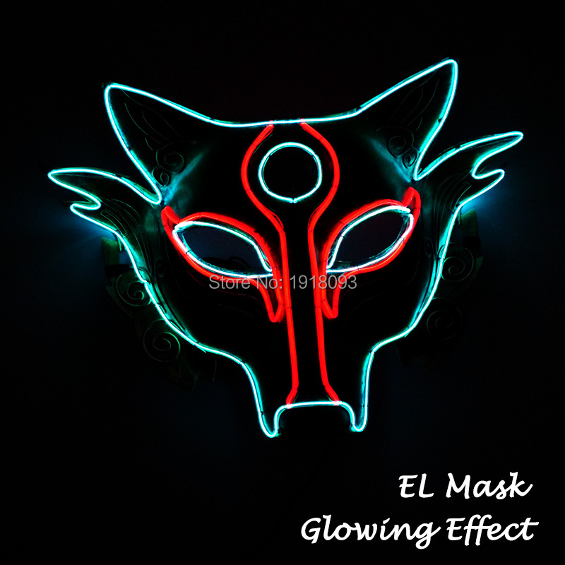 2019 New Arrival EL Mask EL Wire Glowing Mask For Novelty Lighting Holiday Party And  Masquerade Delicate Fox Luminous Mask