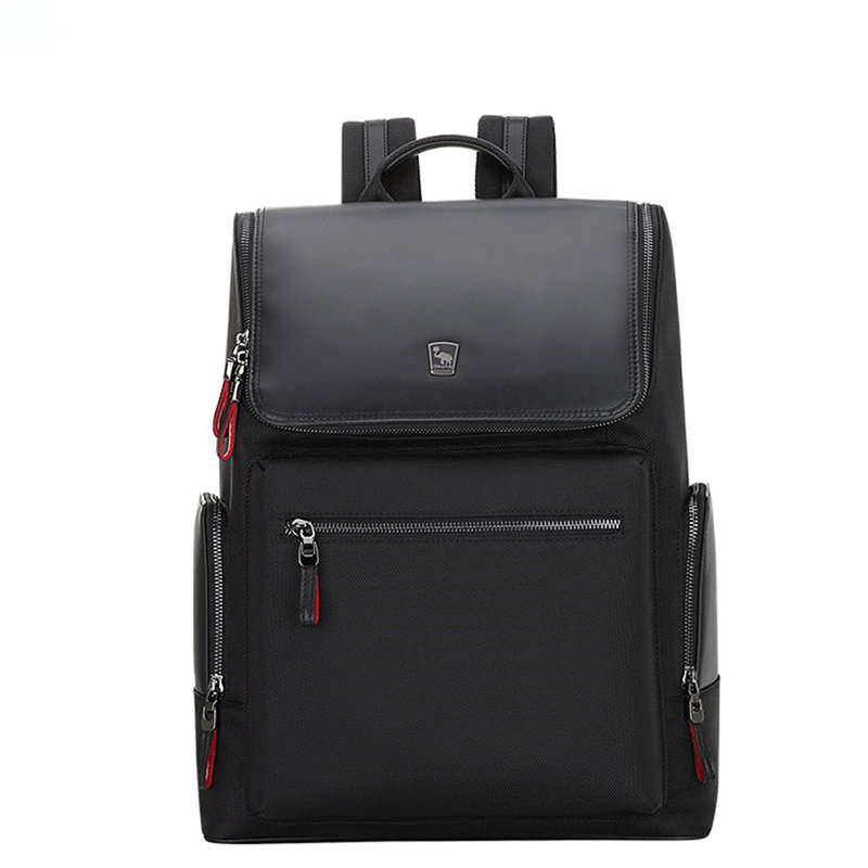 Oiwas Black Men Women Nylon Backpack Casual Solid Color Business Bag Travel School Laptop Storage Shoulder Bag With Zipper oiwas multifunctional solid color men women laptop backpack business style travel bag school shoulder bag black