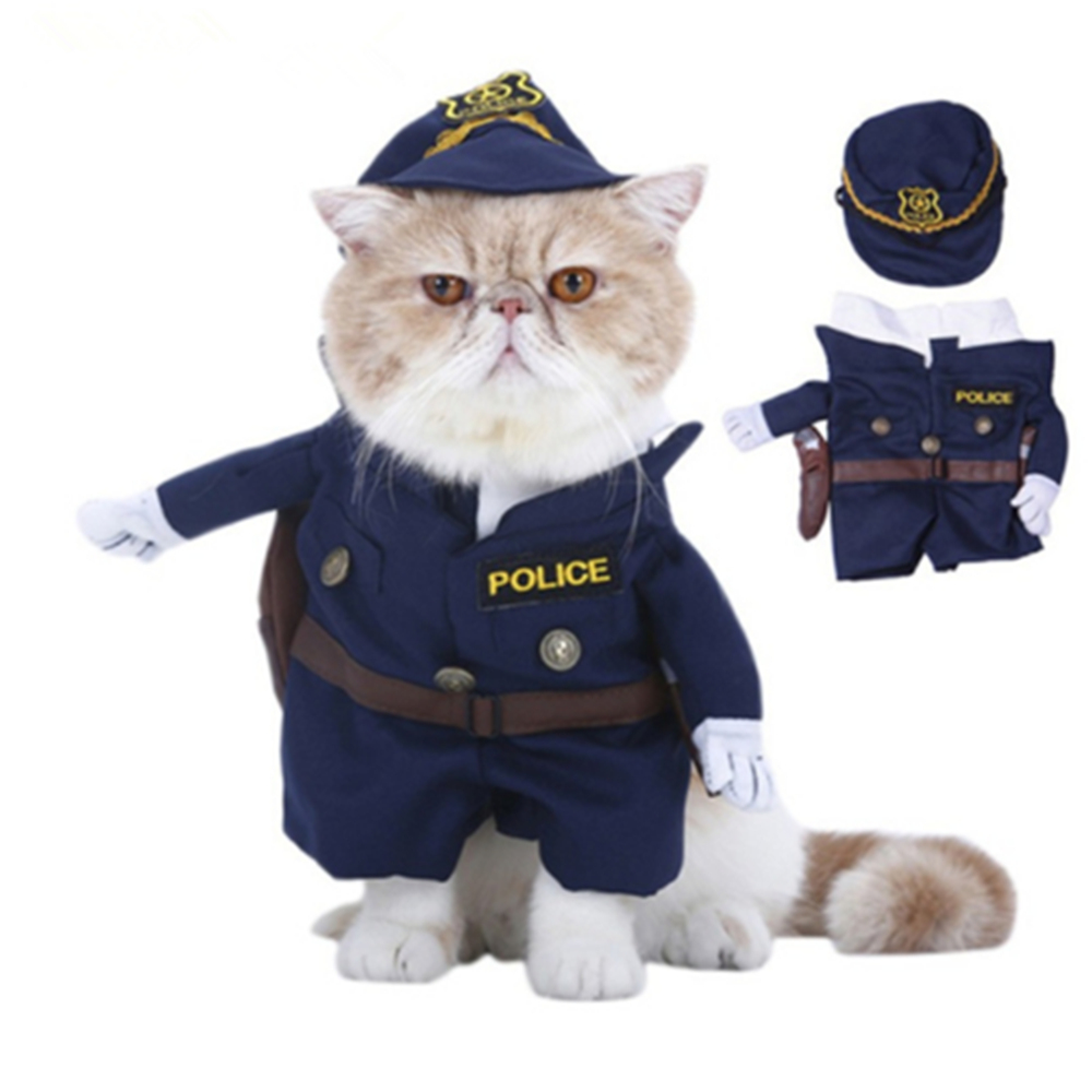 Funny Pet Costumes Cat Dog Cosplay Suit Halloween Christmas Nurse Policeman Uniform Clothing Puppy Hat Suits Party Dressing Up