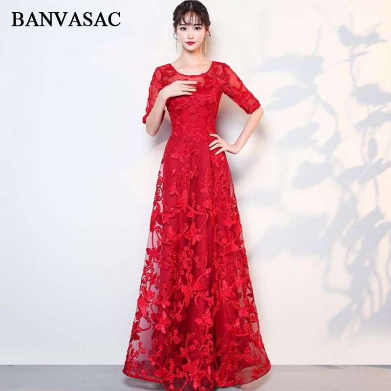 BANVASAC 2018 O Neck Half Sleeve Lace A Line Long   Evening     Dresses   Elegant Party Embroidery Open Back Prom Gowns