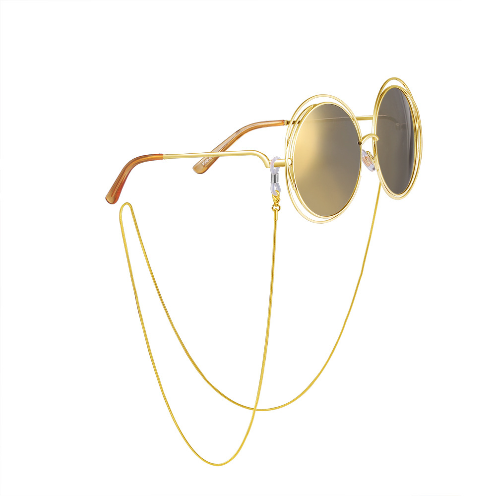Stainless steel does not fade Beaded Eyewear Cord Reading Glass Neck Strap Eyeglass 24k gold plated Holder Cord Glasses