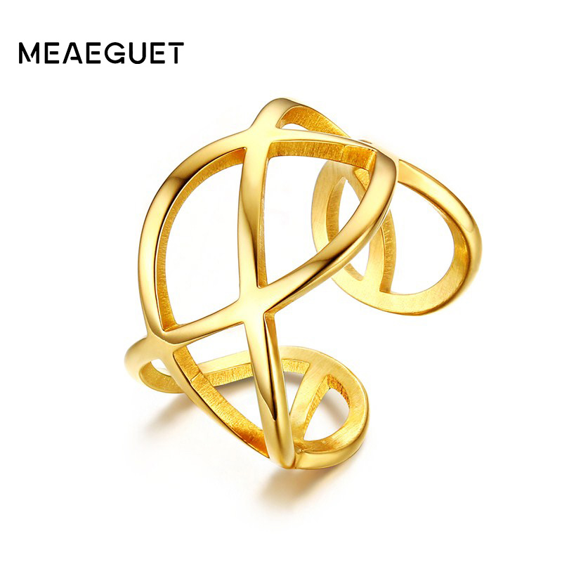 Meaeguet Women Rings Stainless Steel Hollow Cross Knot Open Cocktail Finger Rings for Woman Gold-Color Fashion Jewelry anel