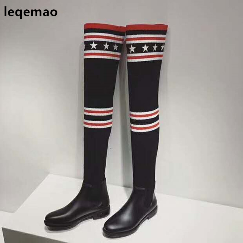 все цены на Hot Sale Fashion Cool Women Socks Boots Over The Knee High Spring Autumn Winter Elastic Flats Rubber Shoes Size 35-40
