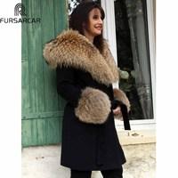 FURSARCAR Natural Winter Fur Jacket With Fur Hood Women Fashion Luxury Cashmere Long Coat 2018 New Black Raccoon Fur Collar Coat