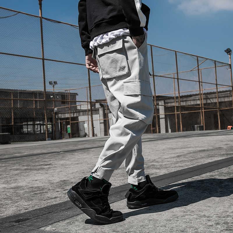 Новое поступление мульти-карманы модные стиль сафари мужские брюки для бега хип-хоп Осенние повседневные уличные мужские Ботильоны шаровары