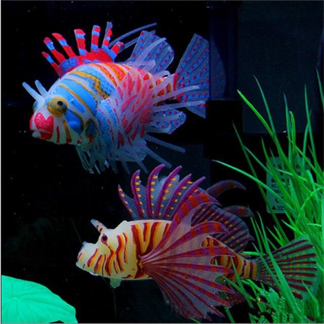 1PC Glow In Dark Artificial Aquarium Lionfish Ornament Fish  1