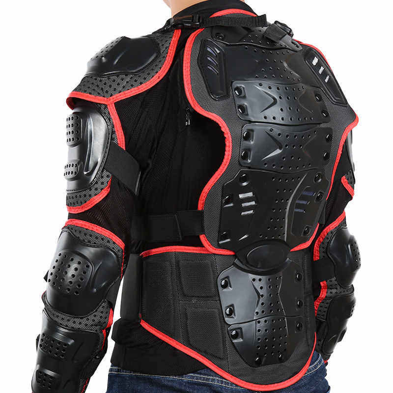 Motorcycle Jacket Motorbike Riding Jacket Full Body Armor for Men Spine Chest Protection Gear Red Edge Deluxe Edition S-XXXL