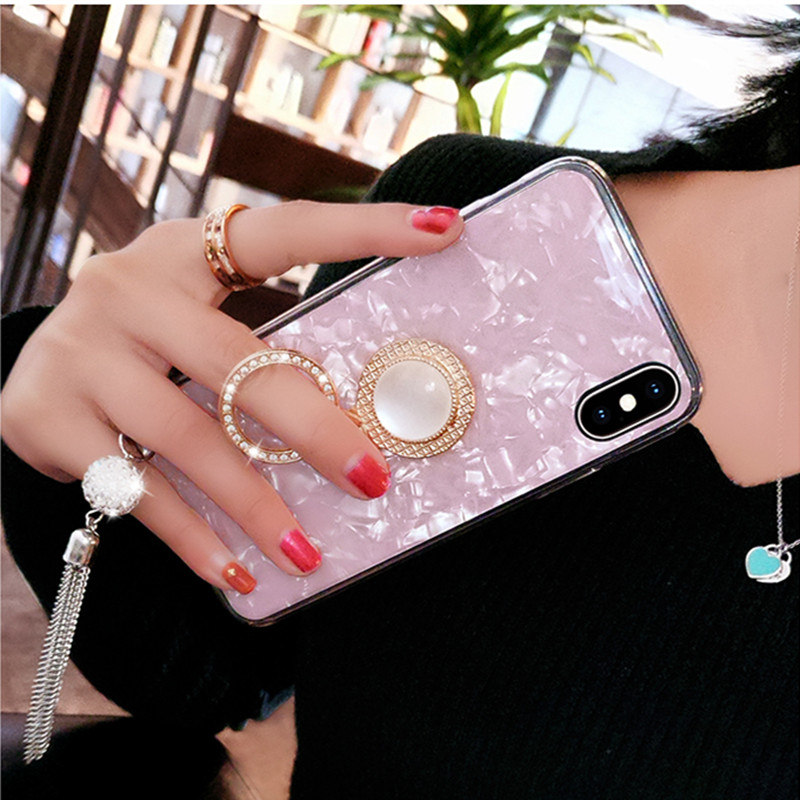 Conch Shell Marble Phone Case For OPPO Reno R19 R15 R15X K1 K3 A7 A5 A3 A3S F7 F9 A83 Bling Diamond Soft Ring Holder Cover Coque in Rhinestone Cases from Cellphones Telecommunications