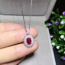 Натуральный красный рубин драгоценный камень кулон S925 серебро натуральный драгоценный камень кулон ожерелье трендовая элегантная Диана круглый женский свадебный подарок ювелирные изделия