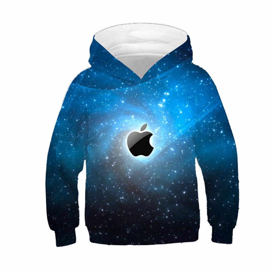 0c380d93d New 2019 Children Hoodies Boy/Girl Blue Galaxy Space Fruit Apple Colorful  Paint Brand 3D