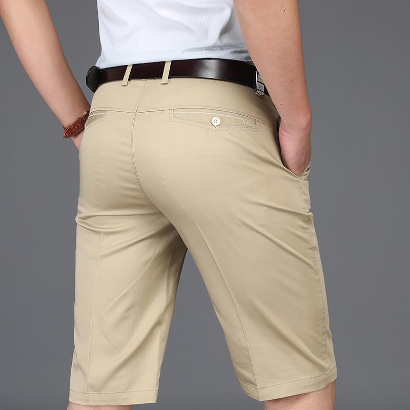 Brand Clothing Summer Newest Mens Shorts Thin Cotton Knee Length Business Men Casual Shorts Masculino Regular Man Shorts Khaki