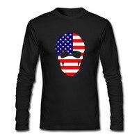 Skull The U S A Flag Creative Men DIY T Shirt Long Sleeve Novelty O Neck
