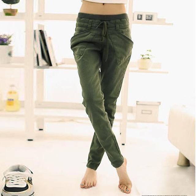 2017 Women Trousers High Quality Cotton Pants Casual Slim Drawstring Waist Pants Spring Women Pants plus size XXL