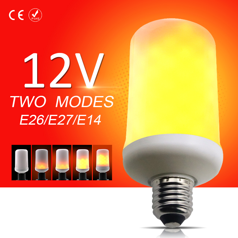 DC <font><b>12V</b></font> Free shipping <font><b>LED</b></font> Flame Lamps Corn <font><b>Bulb</b></font> E26 99leds lamparas <font><b>E27</b></font> <font><b>led</b></font> E14 Creative Influence fire Lights SMD2835 5W image