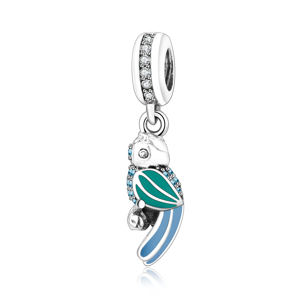 925 Sterling Silver Tropical Parrot Charm Beads With CZ And Enamel Fits Original Pandora Charms Bracelet Pendant Jewelry Making
