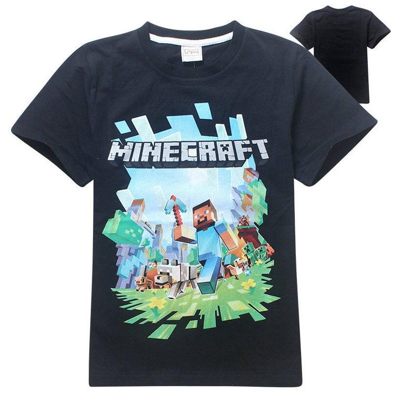 Новый Minecraft Детская футболка с короткими рукавами 100% хлопок Fortnite мальчиков и девочек Приключения видео игры рубашки мультфильм детские топ...