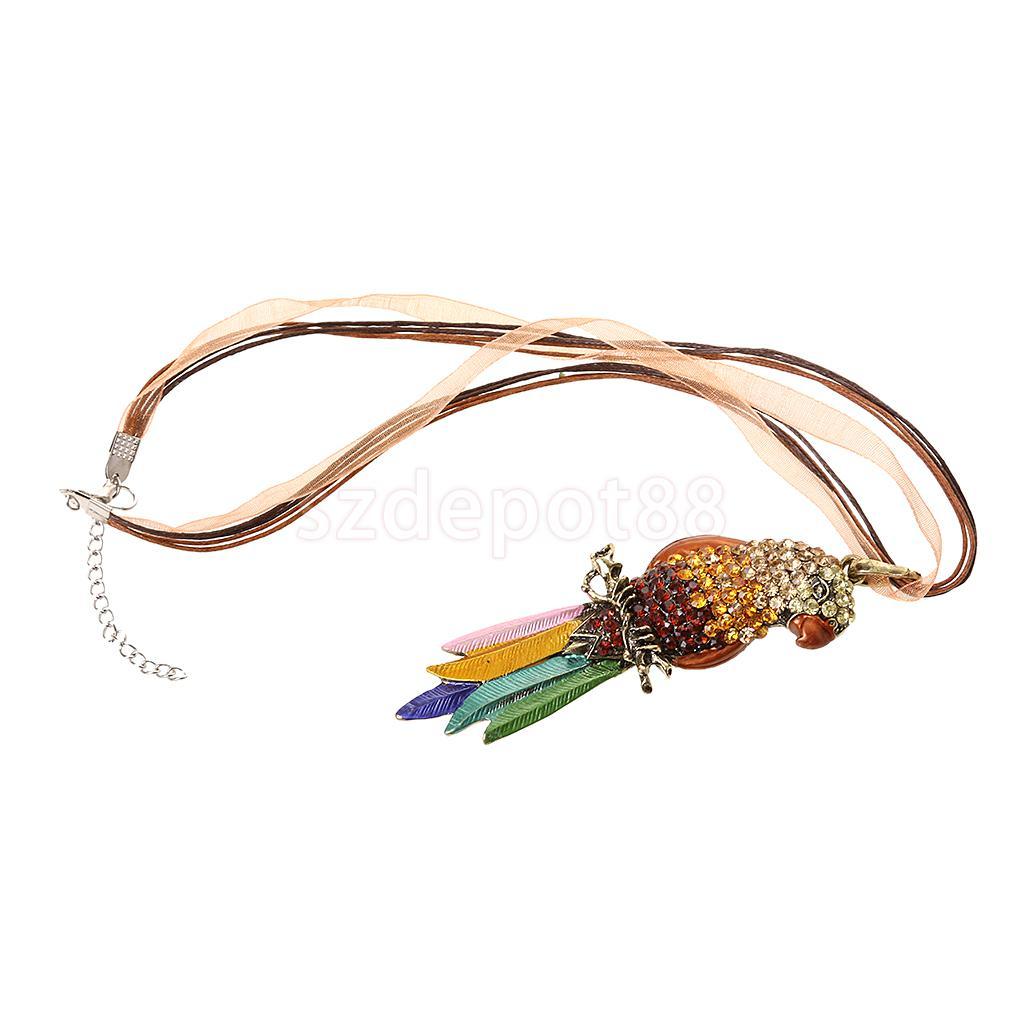 Novelty Design Fashion Jewelry Rhinestone Parrot Sweater Long Lace Chain Pendant Necklace Elegant Decor